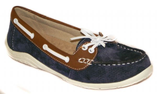 Milwaukee navy Suede with tan leather and white lace and for a nautical look.